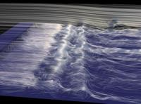 The streamlines are seeded at positions of very high and very low mean curvature. This supports the visual detection of shear-layer vortices and secondary spanwise structures, and it eases the understanding of the flow to a very high degree. Winning entry from the Gallery of Fluid Motion 2003.